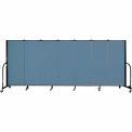 "Screenflex 7 Panel Portable Room Divider, 5'H x 13'1""L, Fabric Color: Summer Blue"