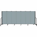 "Screenflex 7 Panel Portable Room Divider, 5'H x 13'1""L, Fabric Color: Grey Stone"