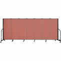 "Screenflex 7 Panel Portable Room Divider, 5'H x 13'1""L, Fabric Color: Cranberry"
