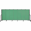 "Screenflex 7 Panel Portable Room Divider, 5'H x 13'1""L, Fabric Color: Sea Green"