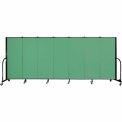 "Screenflex 7 Panel Portable Room Divider, 5'H x 13'1""L, Fabric Color: Sea Green"