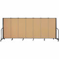 "Screenflex 7 Panel Portable Room Divider, 5'H x 13'1""L, Fabric Color: Sand"