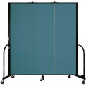 "Screenflex 3 Panel Portable Room Divider, 6'H x 5'9""L, Fabric Color: Lake"