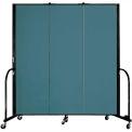 "Screenflex Portable Room Divider - 3 Panel - 6'H x 5'9""L -  Lake"