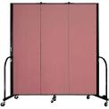 "Screenflex 3 Panel Portable Room Divider, 6'H x 5'9""L, Fabric Color: Rose"