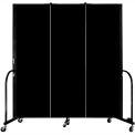 "Screenflex 3 Panel Portable Room Divider, 6'H x 5'9""L, Fabric Color: Charcoal Black"