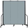 "Screenflex 3 Panel Portable Room Divider, 6'H x 5'9""L, Fabric Color: Grey Stone"