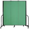 "Screenflex Portable Room Divider - 3 Panel - 6'H x 5'9""L -  Sea Green"