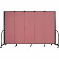 "Screenflex 5 Panel Portable Room Divider, 6'H x 9'5""L, Fabric Color: Rose"