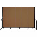 "Screenflex Portable Room Divider - 5 Panel - 6'H x 9'5""L -  Walnut"