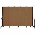 "Screenflex Portable Room Divider - 5 Panel - 6'H x 9'5""L -  Walnut"