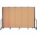 "Screenflex 5 Panel Portable Room Divider, 6'H x 9'5""L, Fabric Color: Desert"