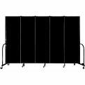 "Screenflex Portable Room Divider - 5 Panel - 6'H x 9'5""L -  Charcoal Black"