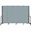 "Screenflex 5 Panel Portable Room Divider, 6'H x 9'5""L, Fabric Color: Grey Stone"