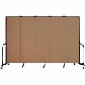 "Screenflex Portable Room Divider - 5 Panel - 6'H x 9'5""L -  Beech"