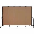 "Screenflex Portable Room Divider - 5 Panel - 6'H x 9'5""L -  Beech"