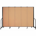 "Screenflex Portable Room Divider - 5 Panel - 6'H x 9'5""L -  Wheat"