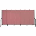 "Screenflex 7 Panel Portable Room Divider, 6'H x 13'1""L, Fabric Color: Rose"