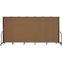 "Screenflex Portable Room Divider - 7 Panel - 6'H x 13'1""L - Walnut"