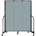 "Screenflex 3 Panel Portable Room Divider, 6'8""H x 5'9""L, Fabric Color: Grey Stone"