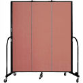 "Screenflex 3 Panel Portable Room Divider, 6'8""H x 5'9""L, Fabric Color: Cranberry"