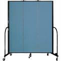 "Screenflex 3 Panel Portable Room Divider, 6'8""H x 5'9""L, Fabric Color: Blue"
