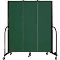 "Screenflex 3 Panel Portable Room Divider, 6'8""H x 5'9""L, Fabric Color: Green"