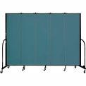 "Screenflex 5 Panel Portable Room Divider, 6'8""H x 9'5""L, Fabric Color: Lake"