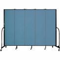 "Screenflex 5 Panel Portable Room Divider, 6'8""H x 9'5""L, Fabric Color: Summer Blue"