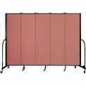 "Screenflex 5 Panel Portable Room Divider, 6'8""H x 9'5""L, Fabric Color: Cranberry"
