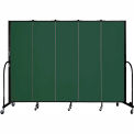 "Screenflex 5 Panel Portable Room Divider, 6'8""H x 9'5""L, Fabric Color: Green"