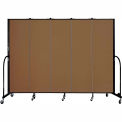 "Screenflex 5 Panel Portable Room Divider, 6'8""H x 9'5""L, Fabric Color: Oatmeal"