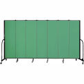 "Screenflex 7 Panel Portable Room Divider, 6'8""H x 13'1""L, Fabric Color: Sea Green"