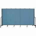"Screenflex 7 Panel Portable Room Divider, 6'8""H x 13'1""L, Fabric Color: Blue"