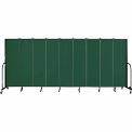 "Screenflex 9 Panel Portable Room Divider, 6'8""H x 16'9""L, Fabric Color: Green"
