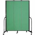 "Screenflex 3 Panel Portable Room Divider, 7'4""H x 5'9""L, Fabric Color: Sea Green"
