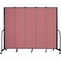 "Screenflex 5 Panel Portable Room Divider, 7'4""H x 9'5""L, Fabric Color: Rose"