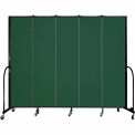 "Screenflex 5 Panel Portable Room Divider, 7'4""H x 9'5""L, Fabric Color: Mallard"
