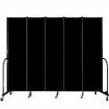 "Screenflex 5 Panel Portable Room Divider, 7'4""H x 9'5""L, Fabric Color: Charcoal Black"