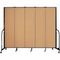 "Screenflex 5 Panel Portable Room Divider, 7'4""H x 9'5""L, Fabric Color: Sand"