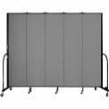 "Screenflex 5 Panel Portable Room Divider, 7'4""H x 9'5""L, Fabric Color: Grey"