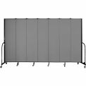 "Screenflex 7 Panel Portable Room Divider, 7'4""H x 13'1""L, Fabric Color: Stone"