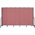 "Screenflex 7 Panel Portable Room Divider, 7'4""H x 13'1""L, Fabric Color: Rose"