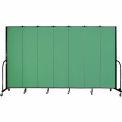 "Screenflex 7 Panel Portable Room Divider, 7'4""H x 13'1""L, Fabric Color: Sea Green"