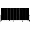 "Screenflex 9 Panel Portable Room Divider, 7'4""H x 16'9""L, Fabric Color: Charcoal Black"