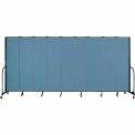 "Screenflex 9 Panel Portable Room Divider, 7'4""H x 16'9""L, Fabric Color: Blue"