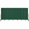 "Screenflex 9 Panel Portable Room Divider, 7'4""H x 16'9""L, Fabric Color: Green"