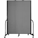 "Screenflex 3 Panel Portable Room Divider, 8'H x 5'9""L, Fabric Color: Stone"