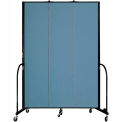 "Screenflex 3 Panel Portable Room Divider, 8'H x 5'9""L, Fabric Color: Blue"