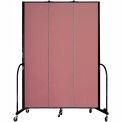 """Screenflex 3 Panel Portable Room Divider, 8'H x 5'9""""L, Fabric Color: Mauve"""